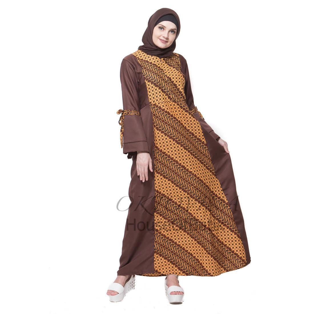 Oktovina-HouseOfBatik Gamis Batik Sogan Katun-Balotelli Parang Kawung - Sogan Batik GBSKB-2 - Cokelat / Gamis Batik / Gamis Wanita / Batik Wanita / Baju Batik