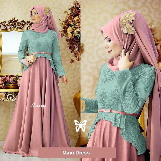 Flavia Store Maxi Dress Lengan Panjang Set 2 in 1 FS0369 - PINK TOSCA / Gamis Syari / Gaun Pesta Muslimah / Baju Muslim Wanita Syar'i / Hijab / Sryolanda