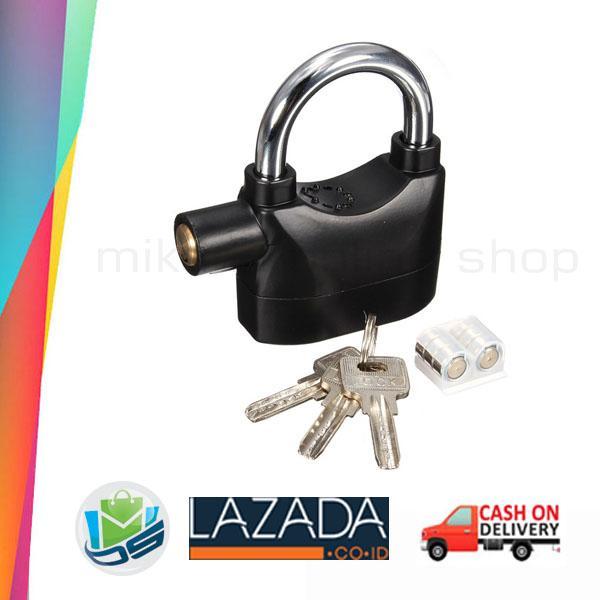 Kunci Gembok Alarm Pengaman Motor Pagar Rumah Kinbar Lock Siren Alarm Anti Maling