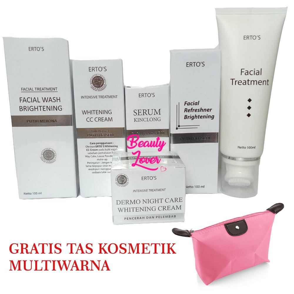 Krim Pelembam Wajah Ertos Night Cream Paket Super Glowing Cc Facial Wash Toner