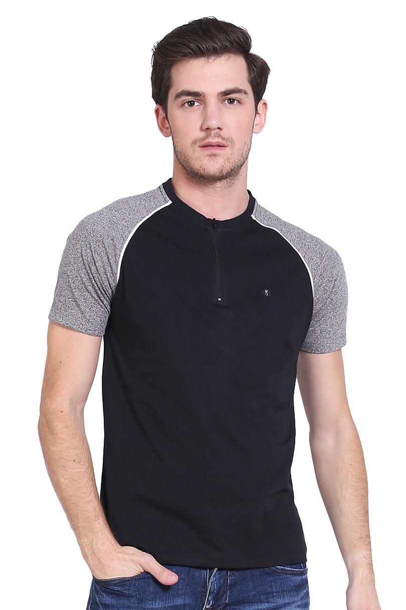 Cressida T-Shirt Kaos Pria Raglan Tee With Zipper Black