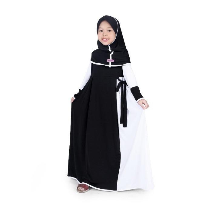 Gamis Baju Muslim Anak Perempuan Jersey Hitam Putih MJBK01