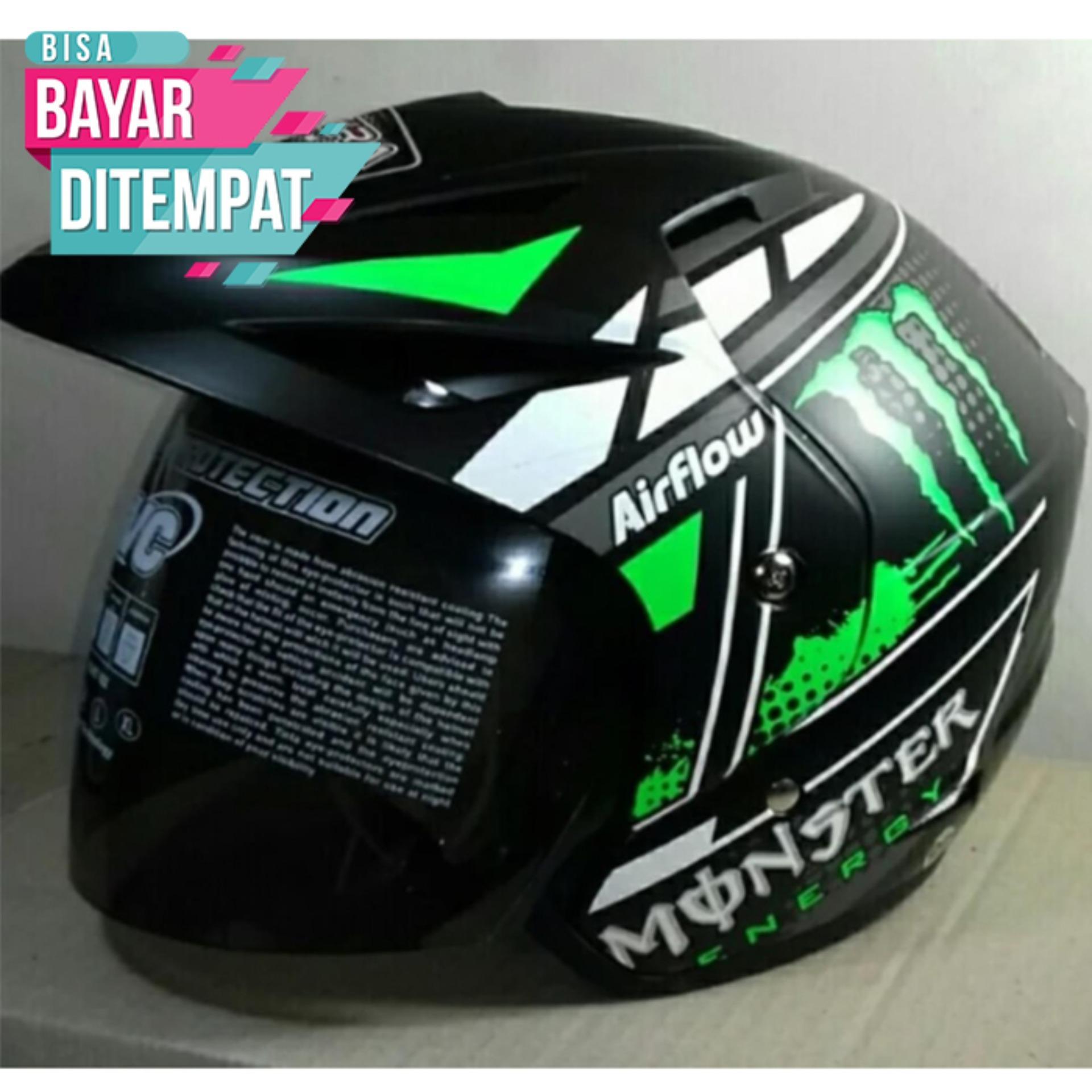 [Promo Best Seller] Helmet Club Bola Sudah SNI Warna Hitam List Hijau Kualitas Setara helm KYT INK GM WTO MSR BMC NHK