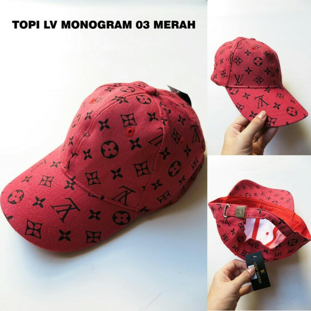 Topi LV monogram 03 merah barang IMPORT topi Fashion casual pria wanita unisex murah keren di lapak JuraganBarangImport juraganbarangimport
