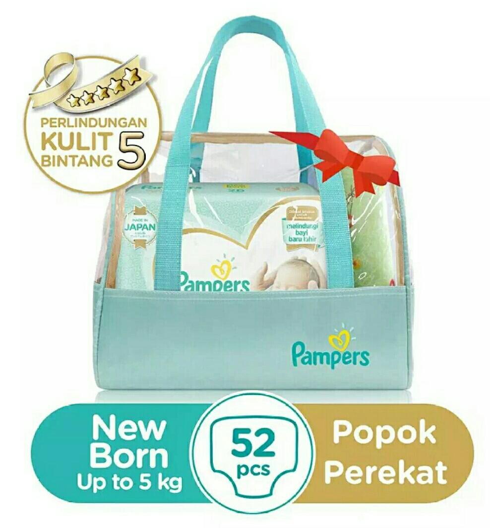 Pampers Popok Premium Care Tape NB 26×2 + Gift Set