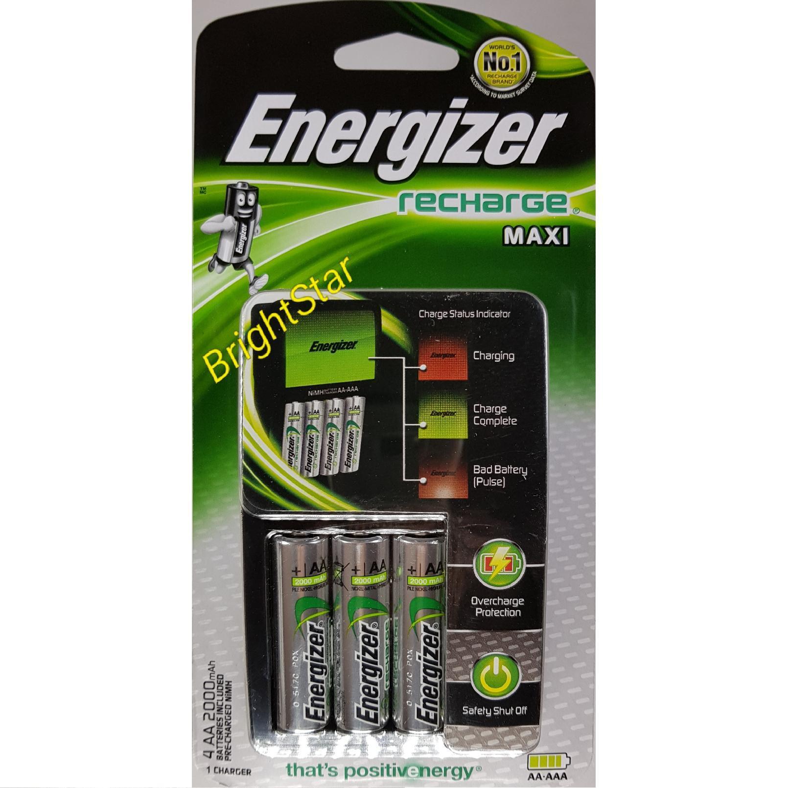ENERGIZER RECHARGE MAXI (CHVCM4) + 4 AA 2000 mAh BATERAI RECHARGE [Charger Baterai / Cas Baterai En