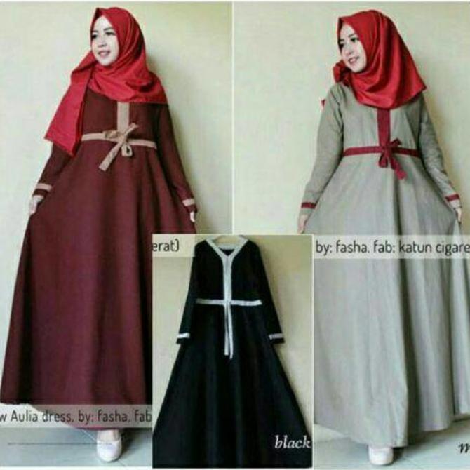 Flash Sale Aulia Dres | Baju Lebaran Muslim Wanita Anak Pria Muslimah Couple Gamis Pesta Putih