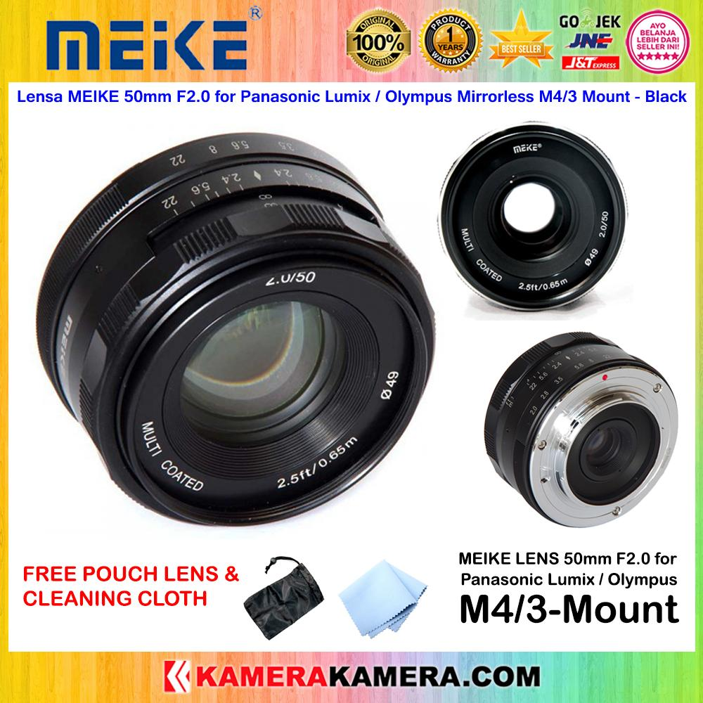 Lensa MEIKE 50mm F2.0 for Panasonic Lumix / Olympus Mirrorless M4/3 Mount Original free Lens Pouch + Cleaning Cloth