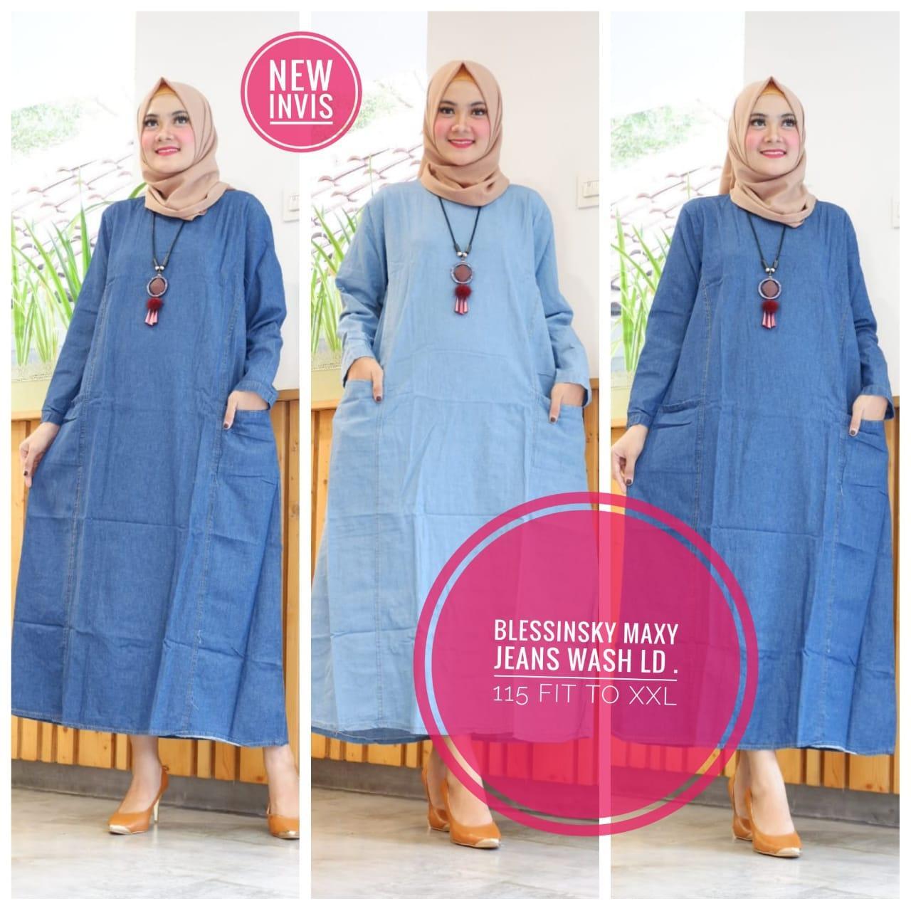 Baju Muslim Blessinsky - Gamis Jeans - Maxy Dress - Gamis Model Terbaru - Baju Muslim Berkualitas