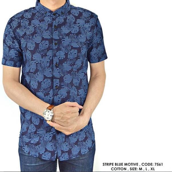 van shirt store  BAJU KEMEJA COWOK PRIA MOTIF CORAK GARIS  Stripe Blue Motive