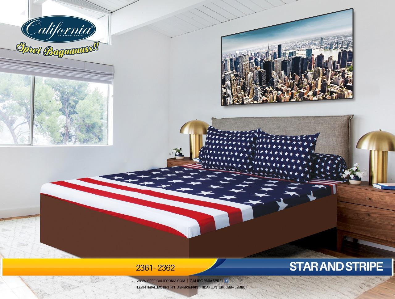 Sprei CALIFORNIA Motif STAR AND STRIPE 180 x 200 cm King Size bendera America merah biru