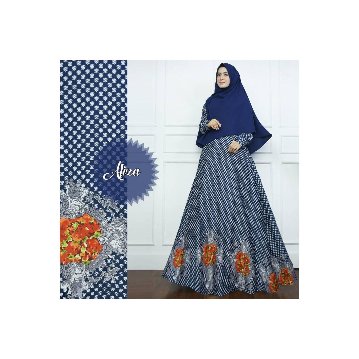 NAVY Gamis Set Bunga Aliza Maxmara Syari Limited Baju Busana Muslimah