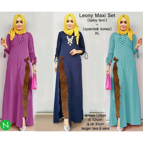 Promo Hari Ini Cn 65147 Maxi Celana Panjang Slit Dress Terusan Gamis Maxi Syari Simple Elegan Wanit