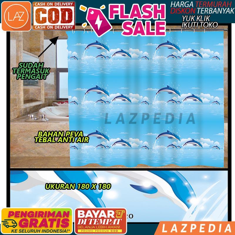 [c68] - Cod/byr Ditempat - [motif Lumba-Lumba] Tirai Kamar Mandi Anti Air Peva Sudah Dilengkapi Pengait / Penutup Kamar Mandi / Tirai Serbaguna - Lazpedia By Lazpedia.