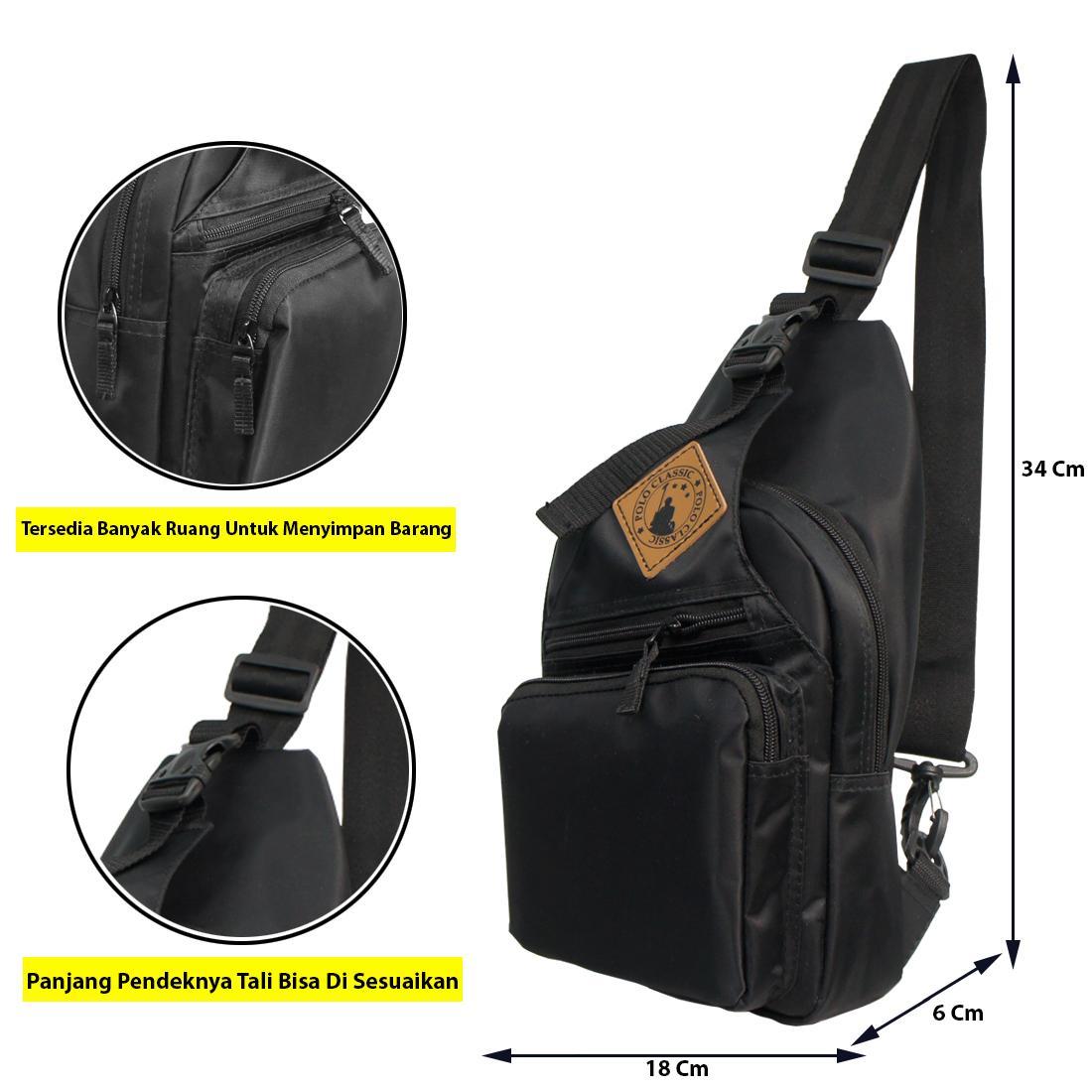 Tas Polo Classic Terbaru Termurah Selempang Dada Chest Bag 002 Hi 346 Black Pria Wanita
