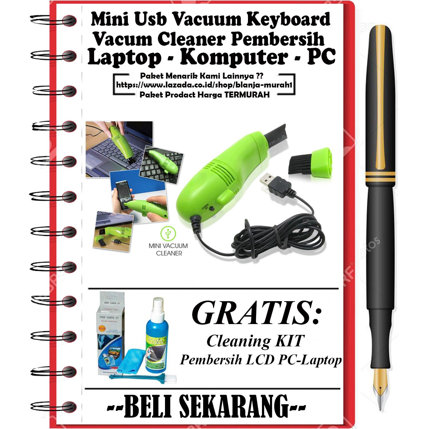 Pembersih Mini USB Vacuum Keyboard Cleaner For Laptop Komputer PC Vacum Penghisap - GRATIS Cleaning Kit Pembersih LCD Pc / Laptop / Handphone