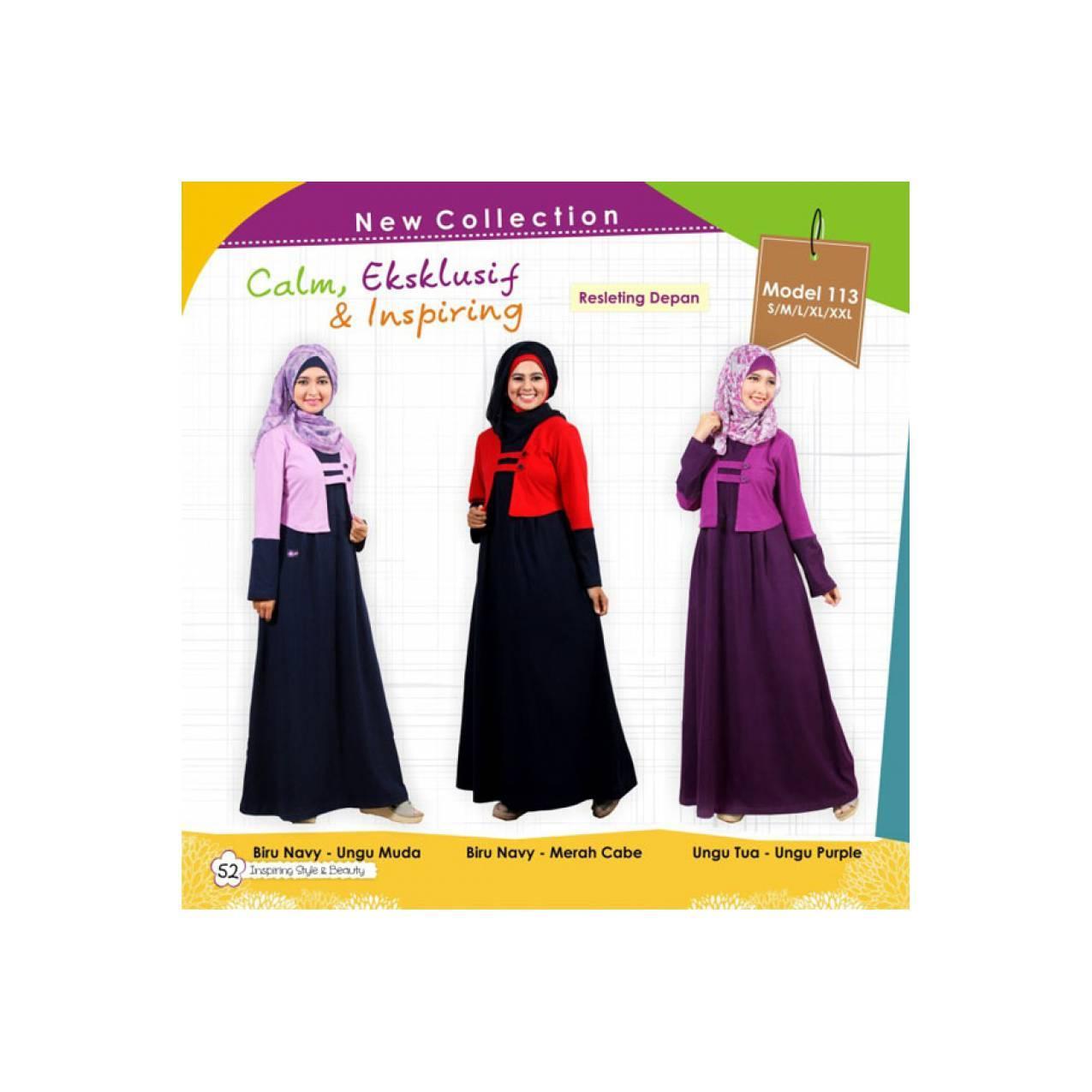 Baju Muslimah Gamis Murah Bahan Kaos ORI MUTIF - Model 113