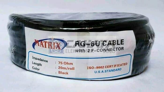 Kabel Matrix RG6 Parabola + Jack Konektor F5 20 Meter 20m 5C Coaxial