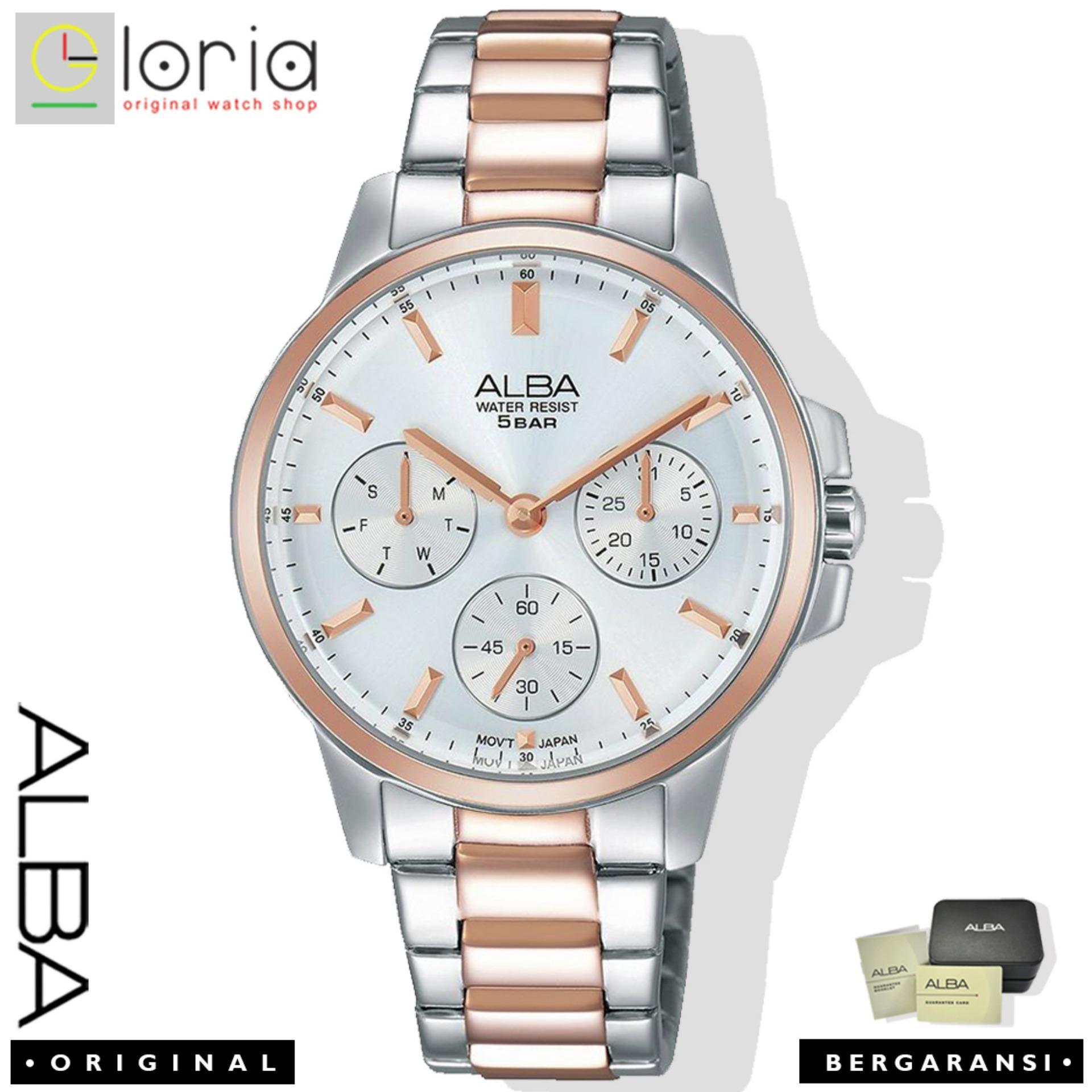 Alba Fashion Jam Tangan Wanita - Tali Stainless Steel - Silver RoseGold - AP6484X1