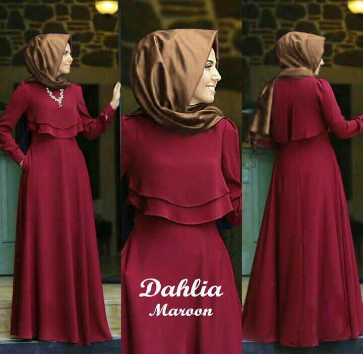 Maxi + Outer Dahlia Jersey Premium 2 in 1 Tanpa Pasmina
