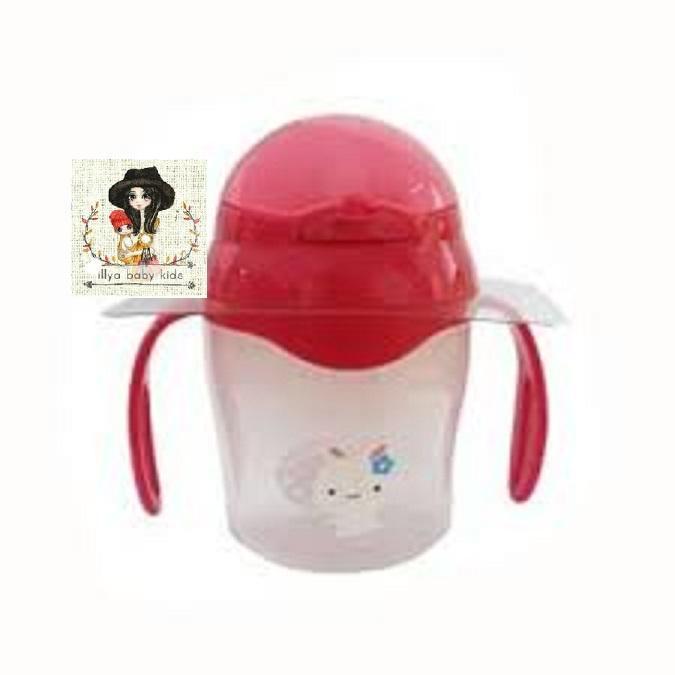 US BABY Straw Training Cup 150ml Gelas Glass Mug Bayi- PINK