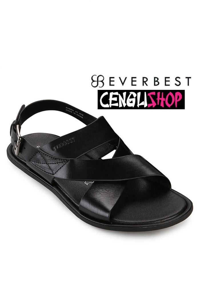 Harga Promo!!! Sandal Everbest Ruben Original Terbaru Hitam Black Sendal Formal Pria - ready stock
