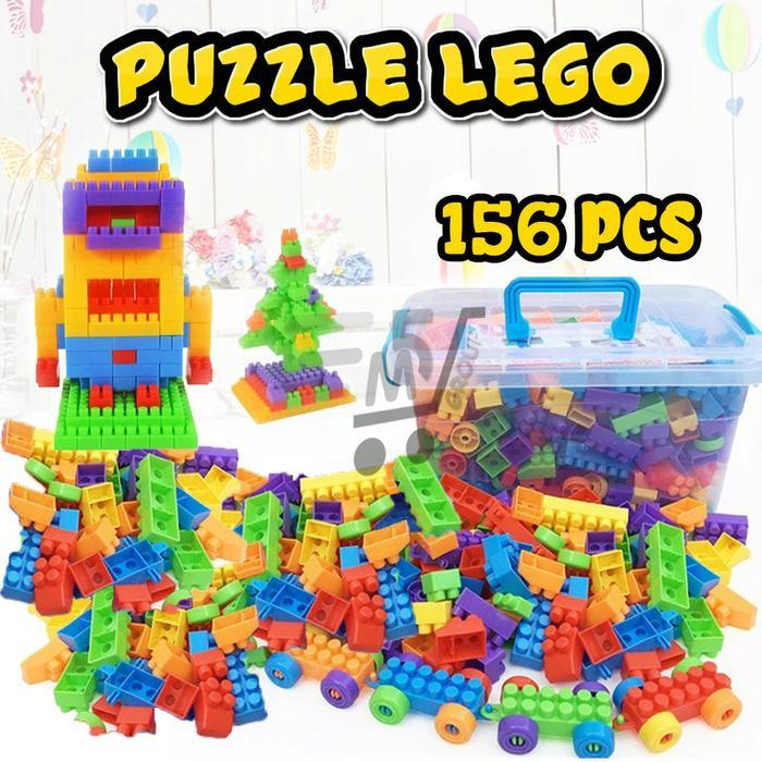 Mainan Anak Edukasi Puzzle Lego [ Box + Isi 156 Pcs ]