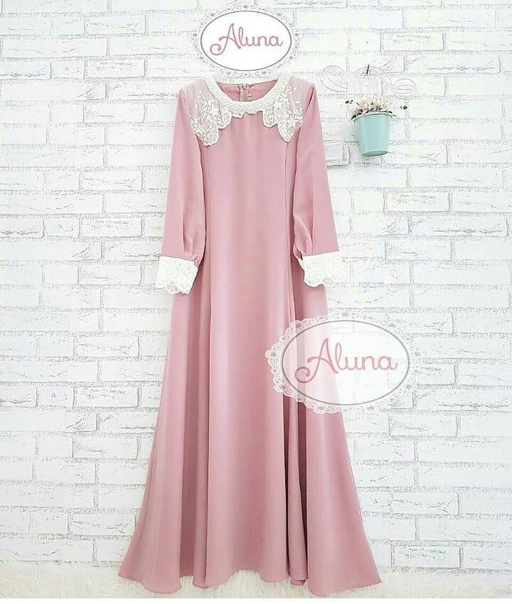 Baju Muslim Original Gamis Zira Dress Wolfice Mix Renda Muslim Panjang Dress Casual Wanita Pakaian Hijab Modern Baju Gamis Modis Trendy Gaun Terbaru