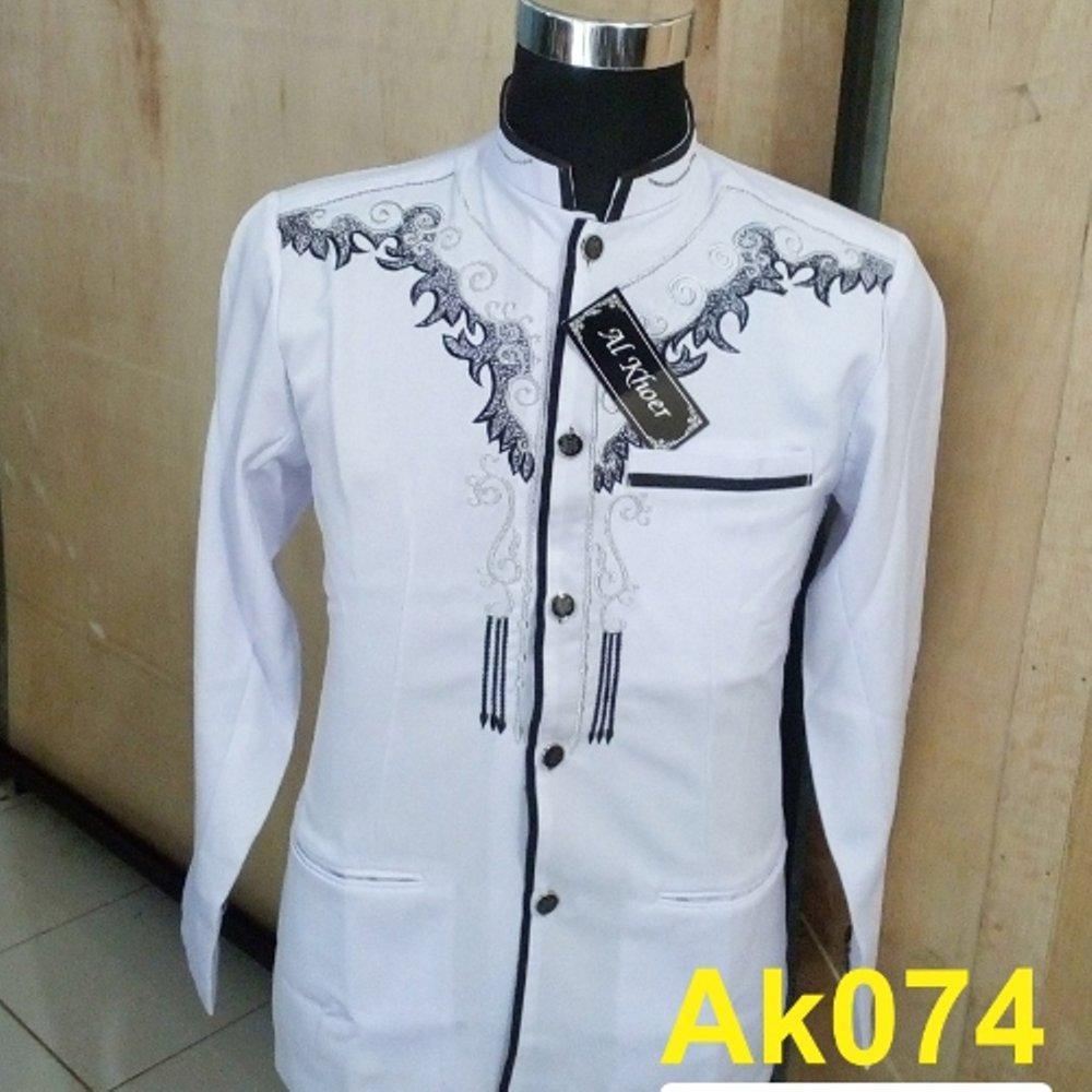 Rp 204.000. Baju koko Pria Jasko putih Bordir Modern AK074 di lapak ...