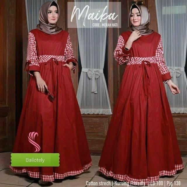 DRESS JUMBO MAIKA TERMURAH (gamis,dress,baju muslim.gamis pesta, grosir bandung,syari,baju murah) (premium L merah)