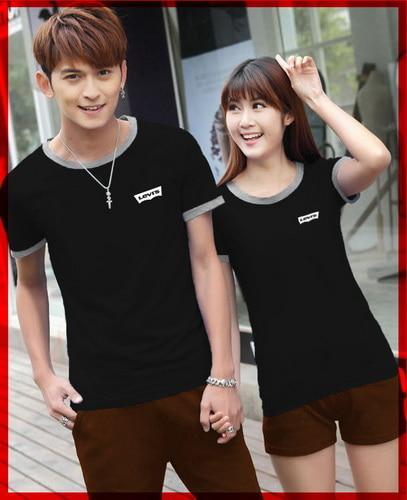 PROMO!!! [Cp T-Shirt Levis Hitam CL] baju couple cotton combet hitam TERMURAH KEMEJA / HIJAB / KAOS / PASHMINA / MUKENA / SYARI