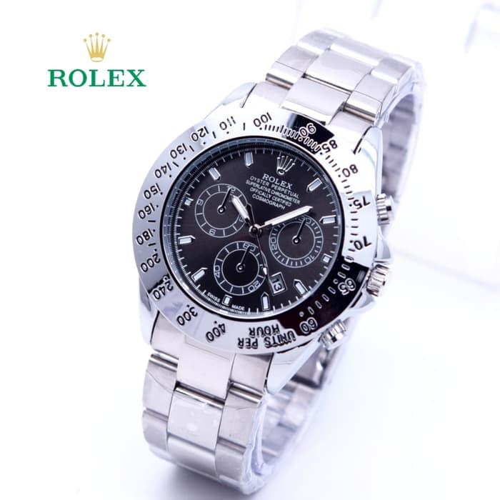 Jam Tangan Wanita / Cewek Rolex Ladies Daytona Rantai Silver Black