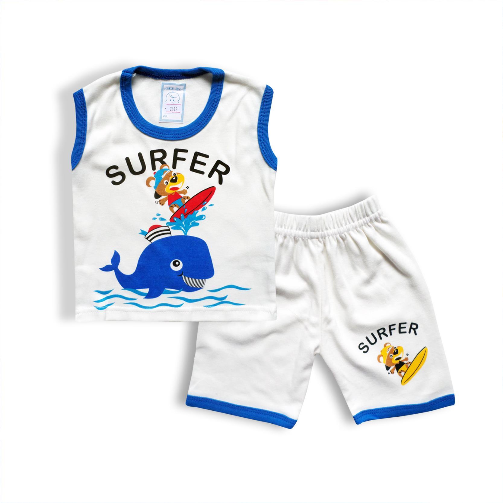 Skabe Baby Putih Baju Singlet Anak Laki Setelan Kaos 2612