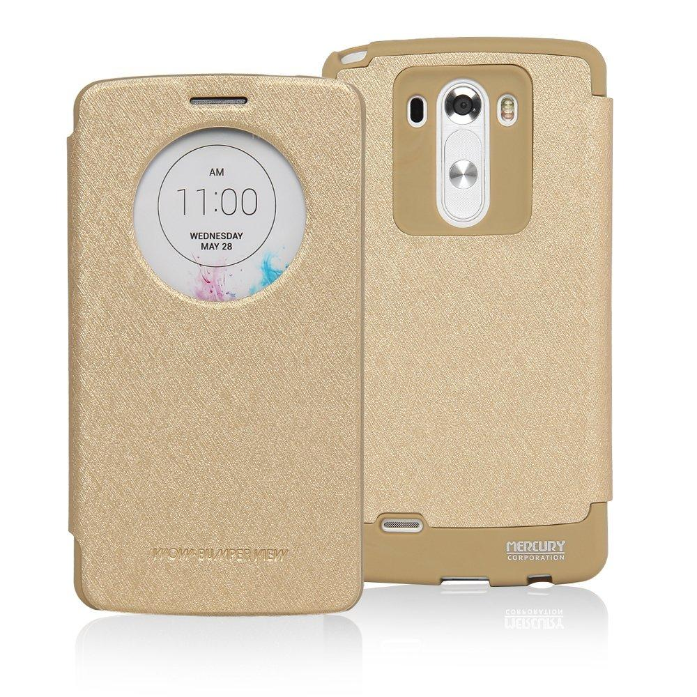 Mercury Goospery Wow Bumper View Case Leather Casing for LG G3 - Gold