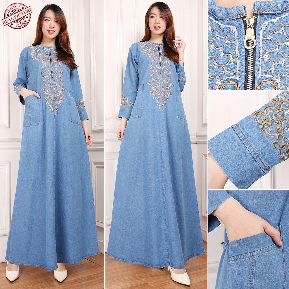 SB Collection Dress Maxi Vila Gamis Jeans Longdress Wanita