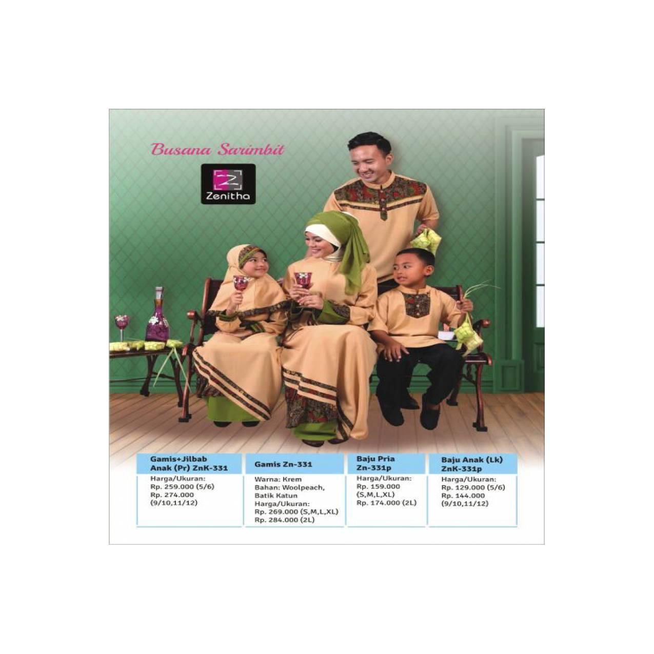 Sarimbit Keluarga - Zenitha - ZN 331 Krem - Baju Keluarga Motif Batik