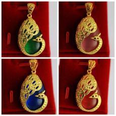 E280 CATEYE Peacock Giok Ukir Emas liontin kalung Kuningan berlapisan emas wanita Liontin pasir Gold Liontin