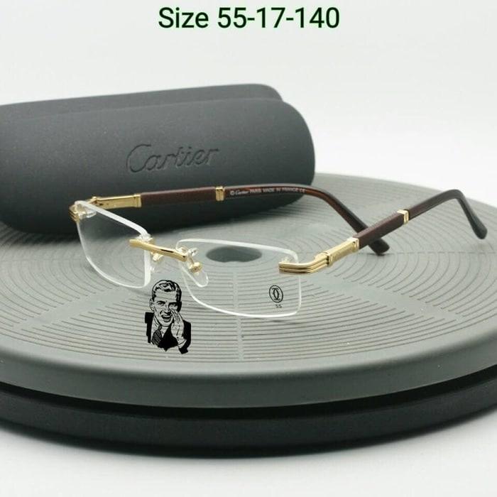 Promo Terbatas!! Frame Kacamata Cartier 809 Gold Kacamata Pria Kacamata Premium - ready stock