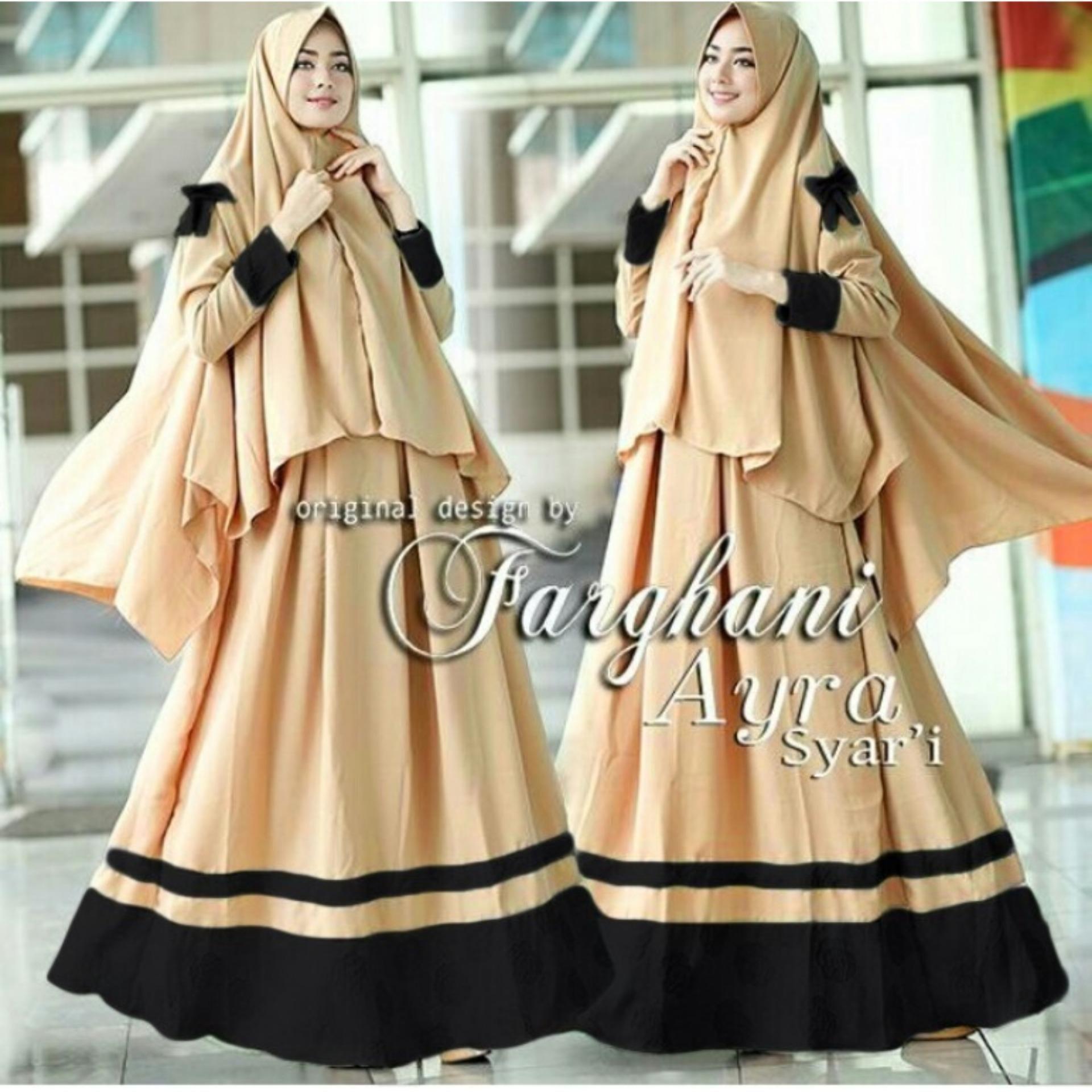 GAYRA Dress Gamis SYARI MAXI MUSLIM Wanita Dress Jumpsuit lebaran Muslimin 1 Set Kerudung