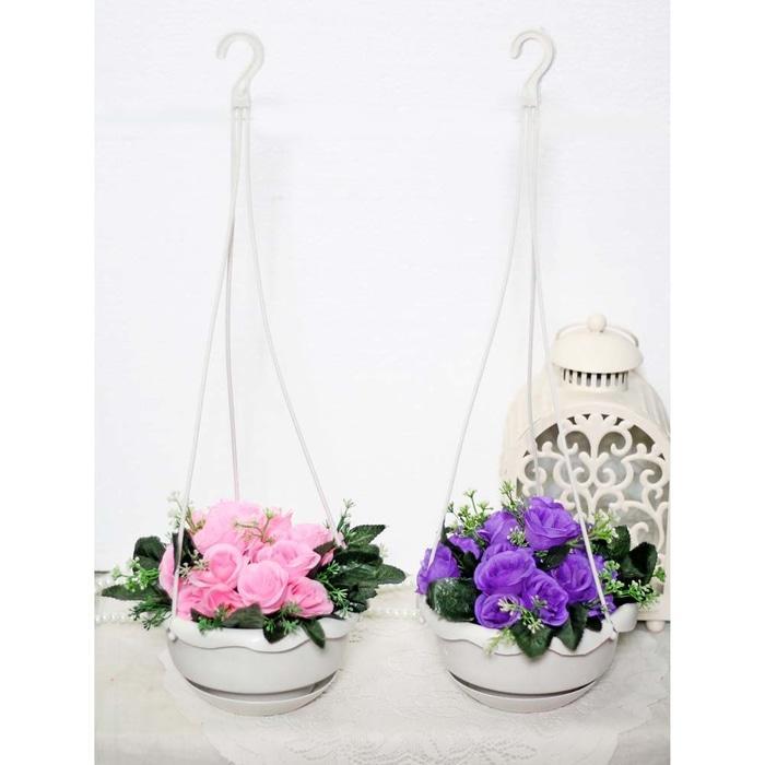 bunga plastik hias artificial artifisial mawar + pot gantung shabby A2 - CIYCE7