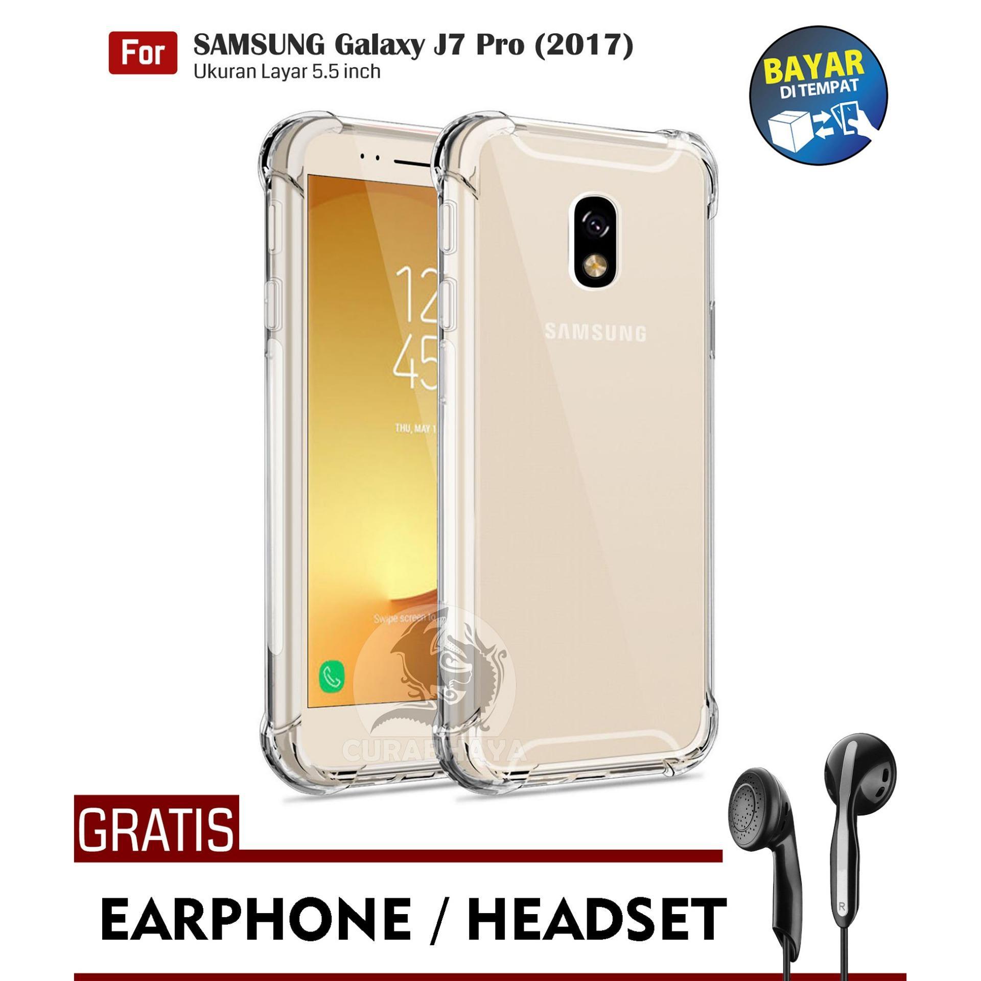 AirShock Samsung Galaxy J7 Pro (2017) / J730 / Duos | Anti Crack Premium Softcase Cushion ShockProof + Gratis Free Earphone Headset Handsfree