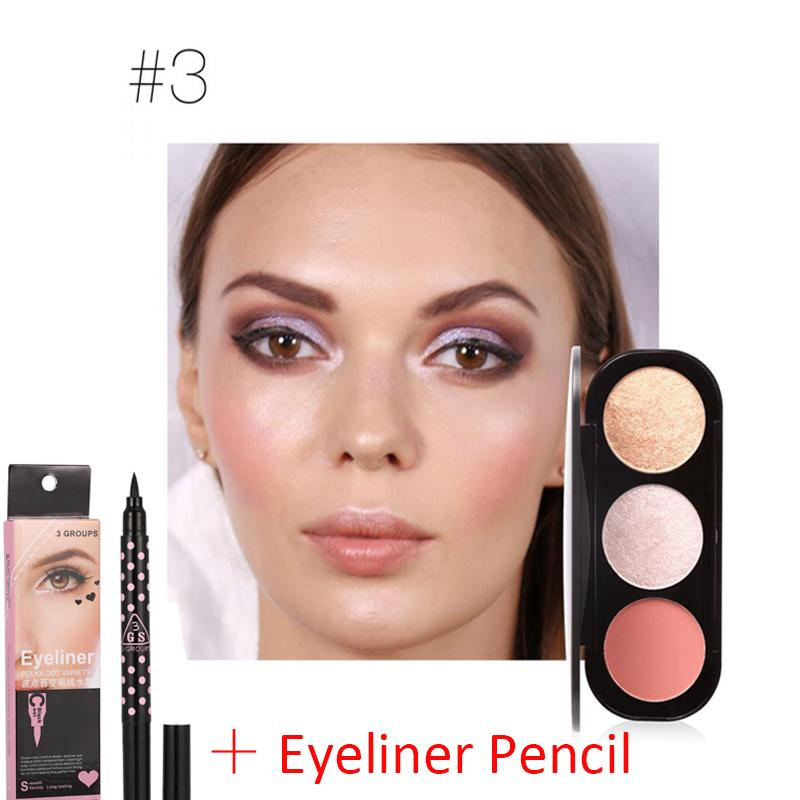 【Eye Shadow + Eyeliner Pencil】Focallure Highlighter Blush Palet Bronzer Kontur Bedak Make-up Wajah #3-Internasional