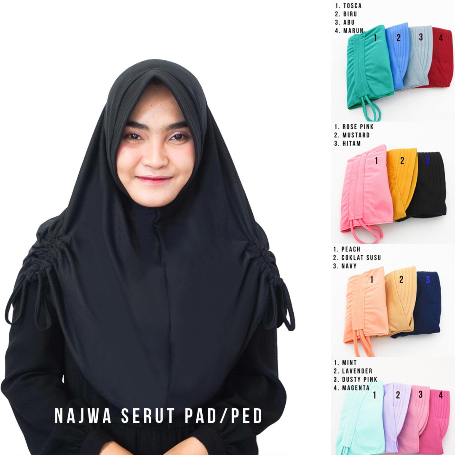 Hijab Najwa PAD PED Serut Jilbab Instan Kerudung Khimar Instan