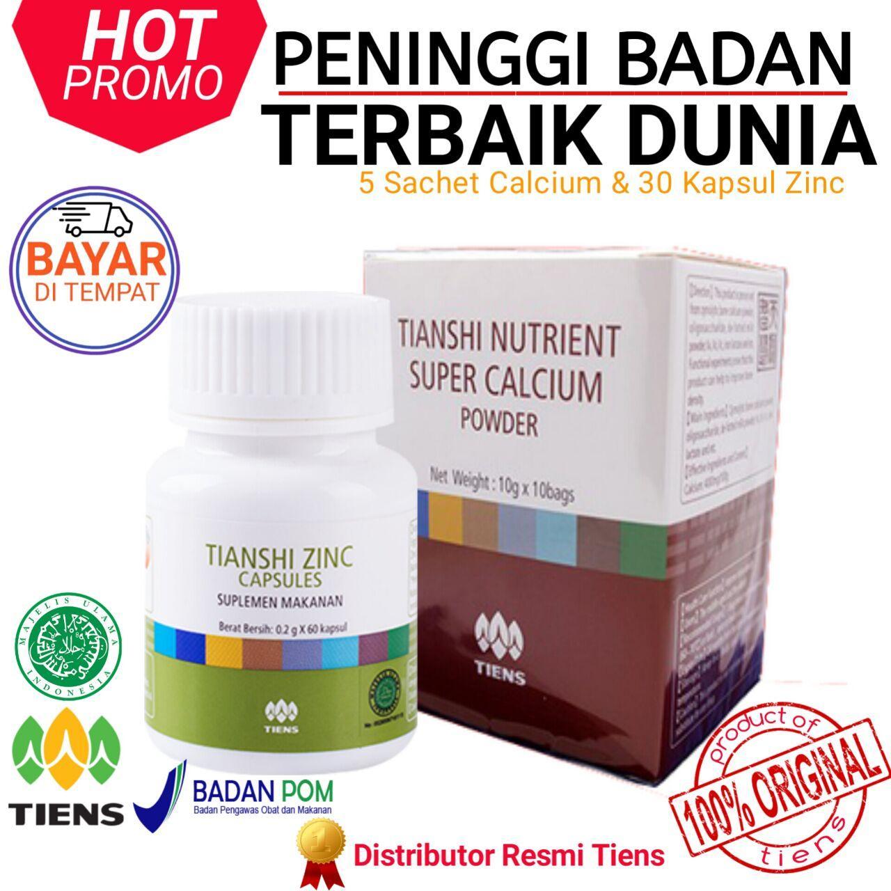 Obat Peninggi Badan Tiens Herbal Paket 5 Calcium dan 1 Botol Zinc Produk  Terbaik Promo Terlaris