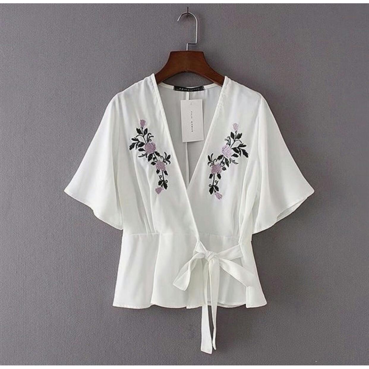 lunashop fashion wanita model atasan kimono rose sablon putih