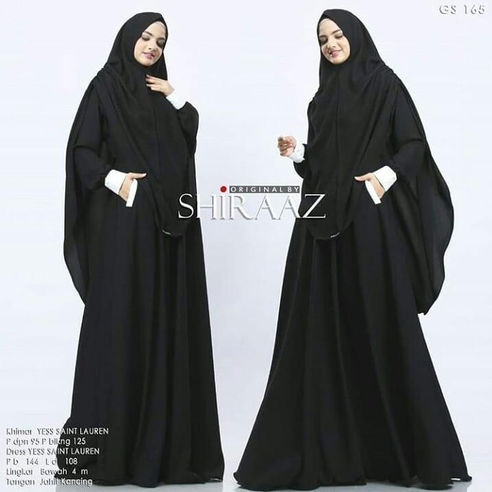 Baju Muslim Original Gamis Shiraaz Syari Dress Wolfice Baju Panjang Muslim Dress+Khimar Casual Wanita Pakaian Hijab Modern Modis Trendy Terbaru 2018