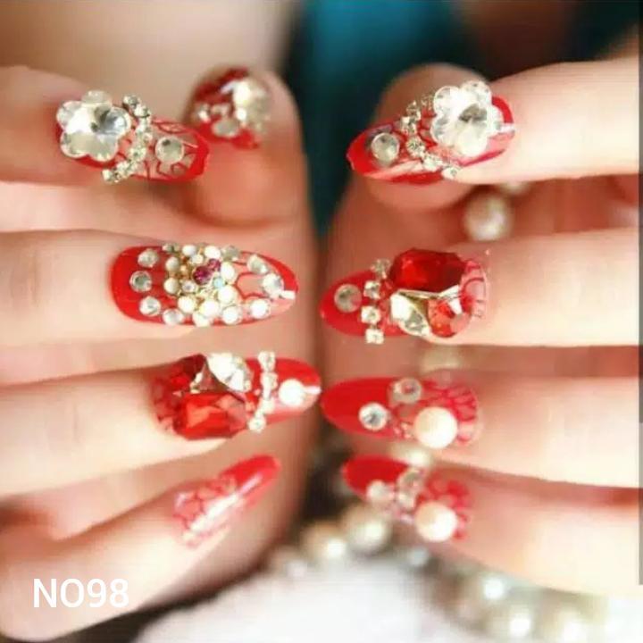Kuku Palsu Fake Nails Nails Art Wedding n Party 24 pcs rainbow