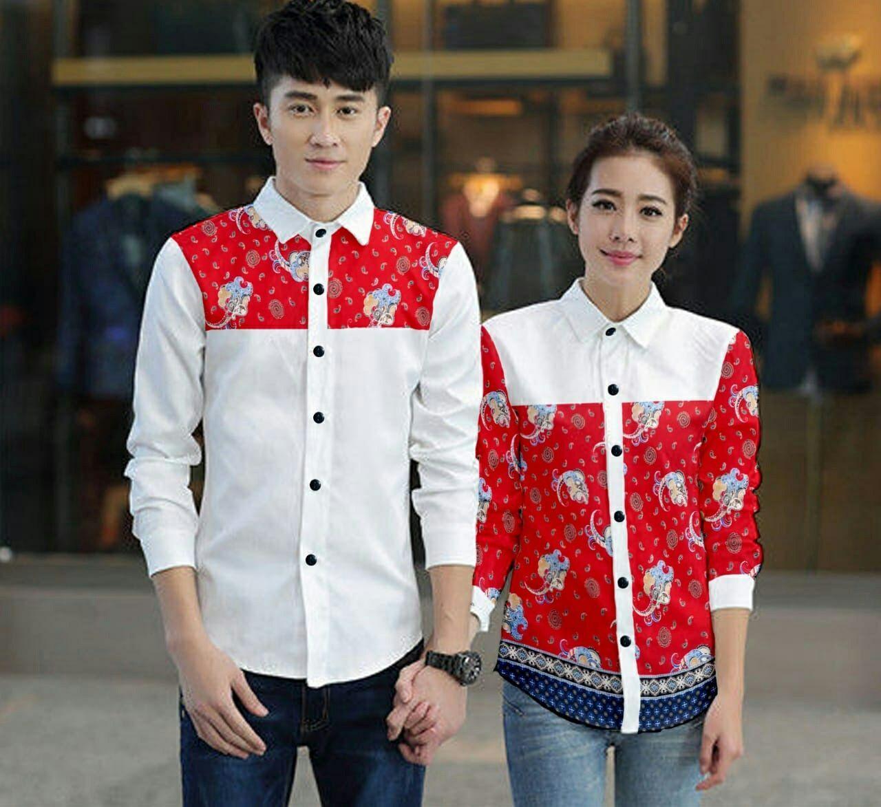 Hc - kemeja pasangan elepany- kemeja couple - baju couple - couple fashion - baju kembaran - kemeja