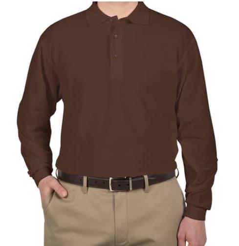 VIVIAN - Polo Shirt Longsleeve / Kaos Polo Lengan Panjang / Kaos Kerah Distro Murah - Coklat