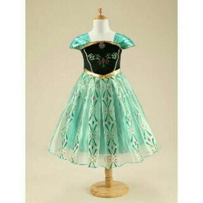 Baju Gaun Dress Anak Perempuan Frozen (Anna)